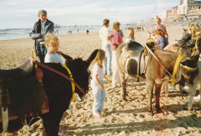 The girls enjoyed donkey rides on Blackpool Beach today