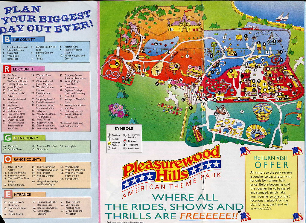 Pleasurewood Hills map from 1990