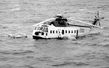 A ditched British Airways Sikorsky S-61N helicopter similar to the aircraft involved in the accident.