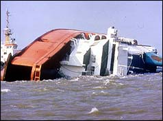 The capsize of The Herald of Free Enterprise with nearly 200 drowned