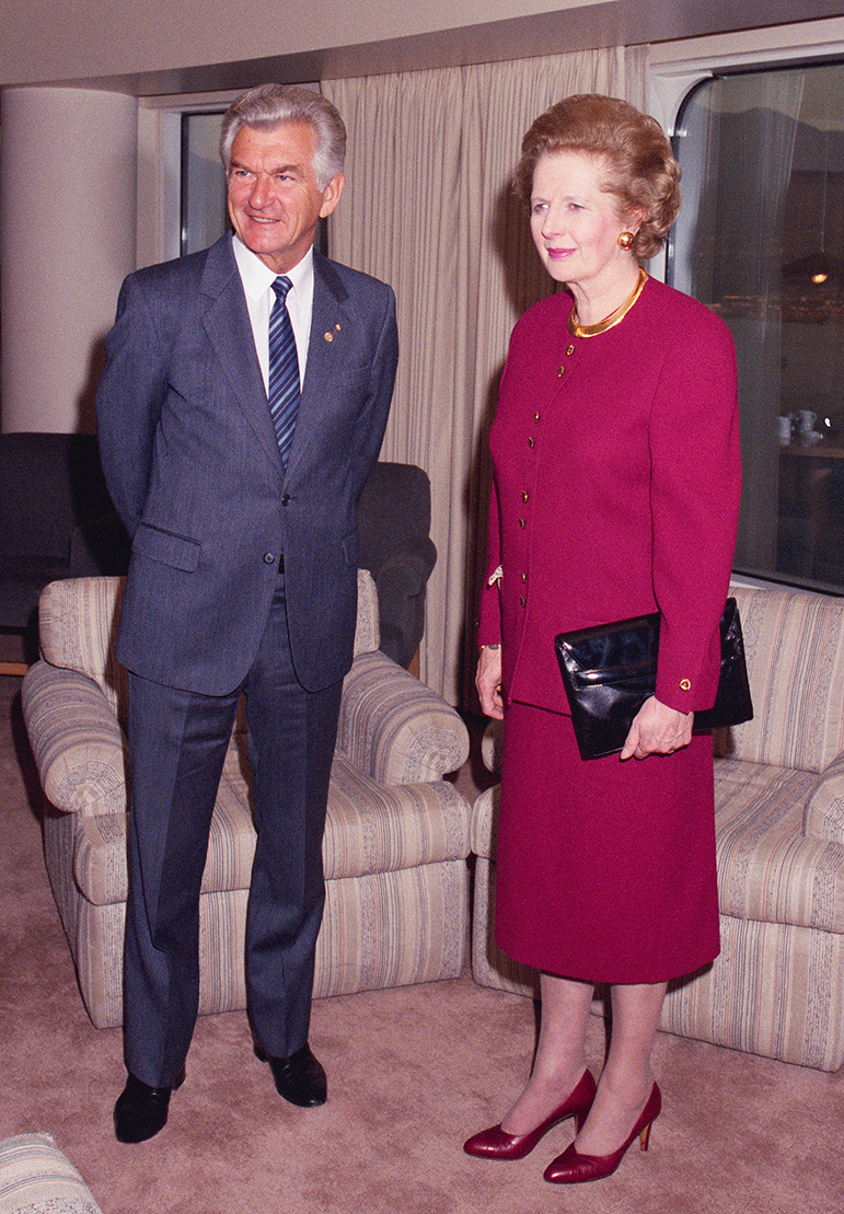 Prime Minister Bob Hawke and UK Prime Minister Margaret Thatcher at the Commonwealth Heads of Government Meeting, Vancouver, 1987.