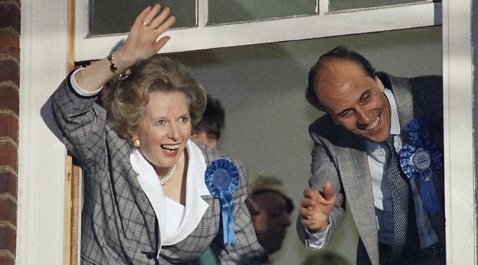 Thatcher back in Downing Street after winning the June election