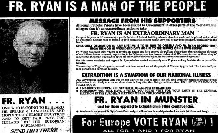Father Patrick Ryan failed to win an election one year later but got 30,000 votes