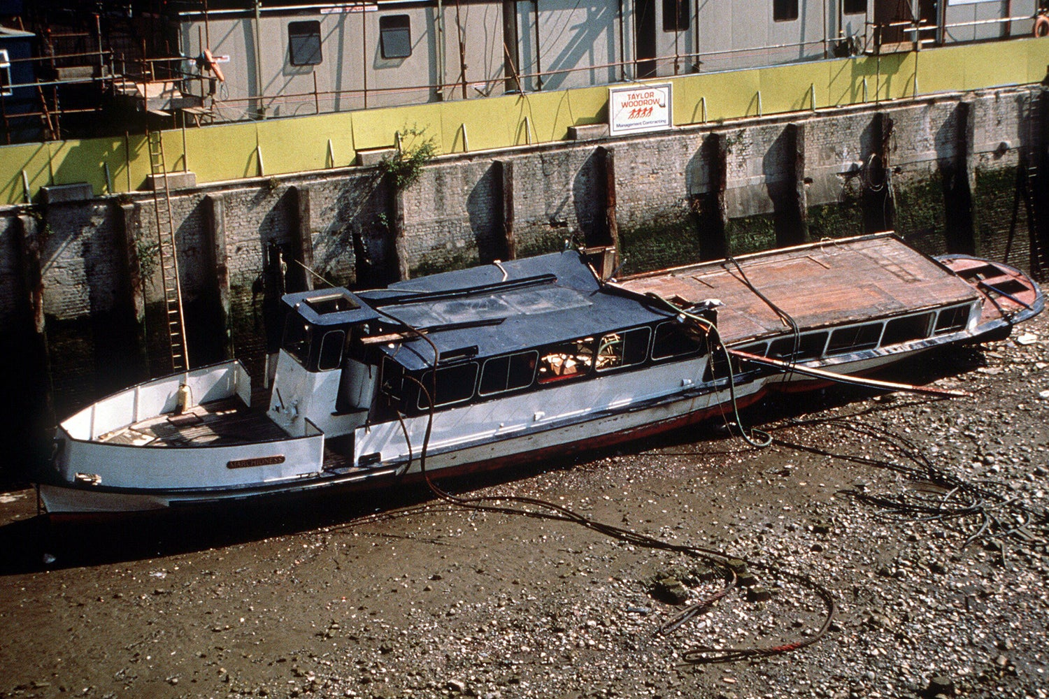 The aftermath of the Marchioness Thames pleasure boat sinking