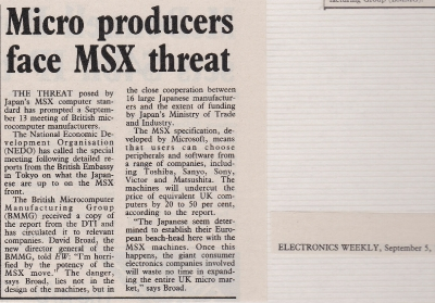 Warning the Economist about the Japanese MSX threat