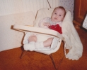 Della in bouncy chair - Autumn 1984