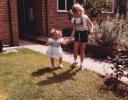 Debbie helping Della to walk, June 1985