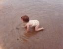 Della paddling Mundesley, August 1985