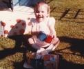 Della in garden June 1985