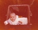 Baby Debbie leaning forward in her pram 1980