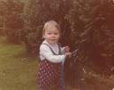 Debbie toddling in the garden 1980