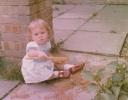 Debbie digging in the garden 1980