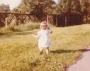 Debbie running away on the Gordon Road verge 1980