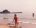 Debbie in Jersey with her bucket - 1982