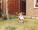Debbie in 6 Willow Close garden  - 1982
