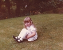 Debbie sitting in 6 Willow Close front garden - 1982