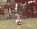 Debbie squatting in 6 Willow Close front garden - 1982