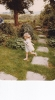 Debbie running in Willow Close riverside garden - 1982