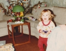Debbie by the tree Christmas 1981
