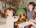 Daniel and Debbie playing with presents Christmas 1981