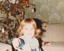 Debbie under the tree Christmas 1981