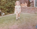 Debbie holding up her nappy 1982
