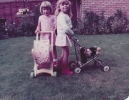 Debbie & Becky with prams in Willow Close garden - 1983