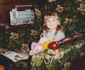 Debbie in chair Willow Close, December - 1983