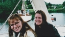 Debbie and friend on board in Norfolk Broads