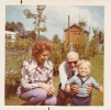 Daniel with granparents Charles and Norma when leaving our house in Shefford, June 1973