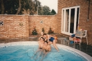 Dan & friend Steve in pool with girlfriends 1986