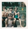 Daniel and friends on the river plot on the first hot summer day, 1977