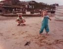 Debbie and Della on sand Mundesley, August 1985