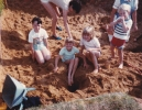 Debbie playing with friends Mundesley, August 1985