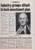 Attacking Government inward investment policies, Computer News, March 28th 1985
