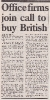 Office firms join call to buy British Spring1985