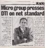 Microgroup presses DTI on net standard - Computing Spring 1985