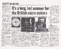 Comart Long Hot Summer, Computer News 12 July 1984
