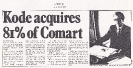 Comart acquired by Kode - Computing 12th July 1984