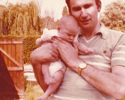 David with Debbie, aged nearly 3 months