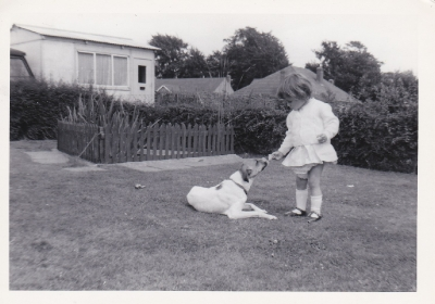 Fred & Grace's grand-daughter playing with dog Judy