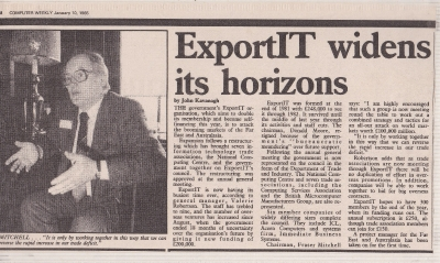 Export IT widens Horizons Computer Weekly January 10th 1985